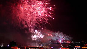 Harbour Bridge Pink Fireworks stock video footage