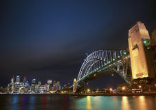 Harbour bridge and skyline of sydney australia at night Royalty Free Stock Photos