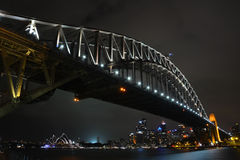 Harbour Bridge at Sydney, Australia. The skyline from Sydney at night time - Harbour Bridge an the Opera House in Australia Stock Images