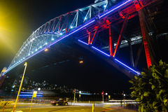 Harbour Bridge on Vivid Light festival edition 2014. Picture depicting the vivid colours that were displayed on the Harbour Bridge in Sydney Australia on june Stock Photography