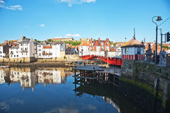 Harbour bridge at Whitby. Road bridge in Whitby harbour which rises to allow yachts to enter the inner harbour Stock Image
