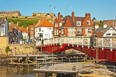 Harbour bridge at Whitby. Road bridge at Whitby whose opening allows yachts and tall ships  to cross from outer to inner harbour Royalty Free Stock Photos