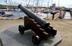 Harbour Cannon on Caithness stone base Royalty Free Stock Photography