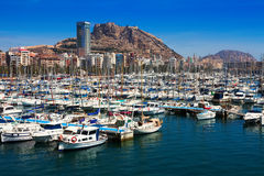 Harbour with  Castle of Santa Barbara in background. Alicante Stock Photography