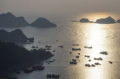 Harbour of Cat Ba town from viewpoint in cannon fort in sunset, Halong Bay royalty free stock images