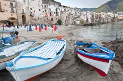 Cefalu old city, Sicily. Cefalu old city and fishing boats, Sicily stock image