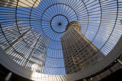 Harbour Centre, Vancouver, BC, Canada. Looking up at Harbour Centre through glass domed roof, Vancouver, BC, Canada Stock Photo