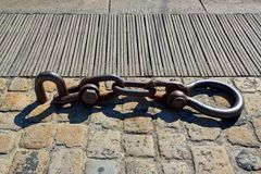 Harbour chain of mooring, Stock Images