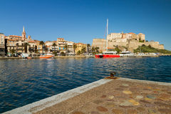 The harbour and citadel in Calvi in Corsica Stock Image