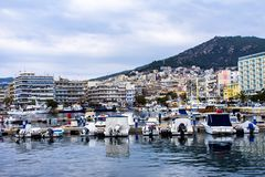 The harbour in the city Kavala, Greece royalty free stock photography