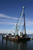 Harbour Construction Barge Stock Photo