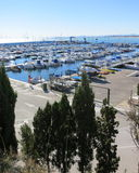 Harbour in Costa Blanca, Spain. A lot of boats are parking at the harbour during winter time in Costa Blanca Stock Images