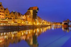 Harbour crane and city gate Zuraw, Gdansk, Poland Royalty Free Stock Photos
