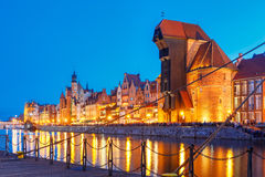 Harbour crane and city gate Zuraw, Gdansk, Poland Royalty Free Stock Photos