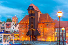 Harbour crane and city gate Zuraw, Gdansk, Poland Stock Images