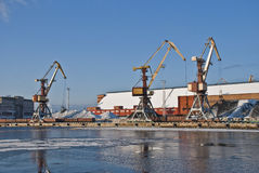 Harbour cranes Stock Photo