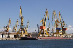 Harbour cranes Stock Images