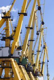 Harbour cranes. Docked in Constanta harbour - Black Sea , Romania stock images