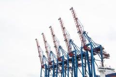5 harbour cranes stock image