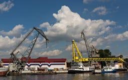 Harbour cranes in Saint Petersburg Royalty Free Stock Image