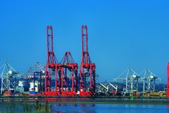 Harbour cranes Wilson's warf. Cargo container cranes durban harbour Royalty Free Stock Photography