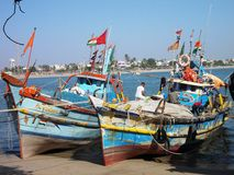 Harbour in Diu / India. The island was a portuguese Colony. Colourful Ships Royalty Free Stock Photography
