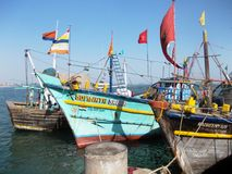 Harbour in Diu / India. The island was a portuguese Colony. Colourful Ships royalty free stock images