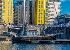 Harbour in Eastbourne with yahts, blue sky and water royalty free stock photography