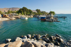 Harbour of Ein Gev. The little harbour of Ein Gev on the east coast of the lake of Galilee in Israel Royalty Free Stock Image