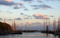 Harbour of Enkhuizen at sunset Stock Photos