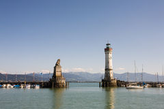 Harbour entrance of Lindau Stock Photos