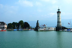 Harbour entrance in Lindau. Lindau harbour  and lighthouse at the Bodensee, Germany Stock Photography