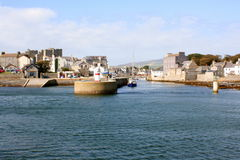 Harbour entrance to Castletown port. Entrance to the harbour at Castletown on the Isle of Man Stock Images