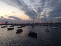 Harbour in the evening Royalty Free Stock Photos