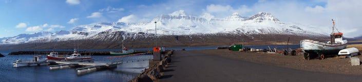 Harbour of Faskrudsfjordur in Iceland Stock Image