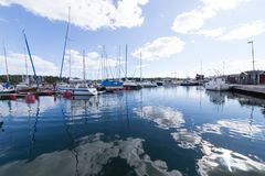Harbour in Femöre. stock images