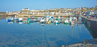 The harbour at Findochty. Colorful Findochty Harbour and historic fishing village on the tourist trail in North East coast of Scotland Royalty Free Stock Photos