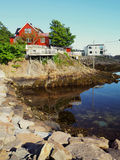 Harbour fishing boat house norway.Polar circle.Norway. Royalty Free Stock Images
