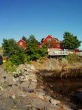 Harbour fishing boat house norway.Polar circle.Norway. Royalty Free Stock Photo