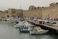 Harbour. Fishing Boats docked in the Harbour of Rhodes, Greece royalty free stock photo