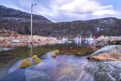 Harbour in a fjord in Norway Royalty Free Stock Image