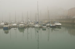 Harbour Fog. Foggy day in Ramsgate Harbour, Kent, UK stock image