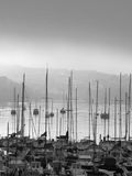 Harbour in Fog, Ireland. Black and white image of the boats on Kinsale Harbour during a misty morning stock photos