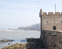 Harbour fortifications at the Essaouira fo Stock Photo