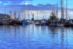 Harbour in Galway. Fisher boats in harbour - Galway - Ireland - HDR Royalty Free Stock Image