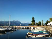 Harbour on Garda lake in italy on summer. stock photo