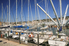 The harbour in Genoa in Italy Royalty Free Stock Photography