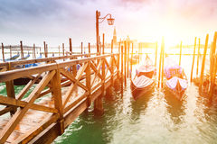Harbour with gondolas in Venice lagoon Royalty Free Stock Images
