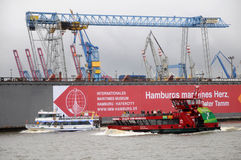 Harbour of Hamburg in Germany Stock Photography