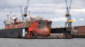 Harbour of Hamburg in Germany Stock Image